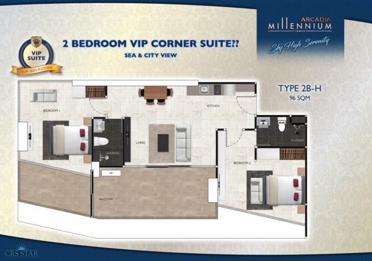 2 Bedroom VIP Corner Suite